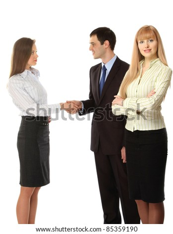 Portrait of business people, focus on a businesswoman, isolated on white