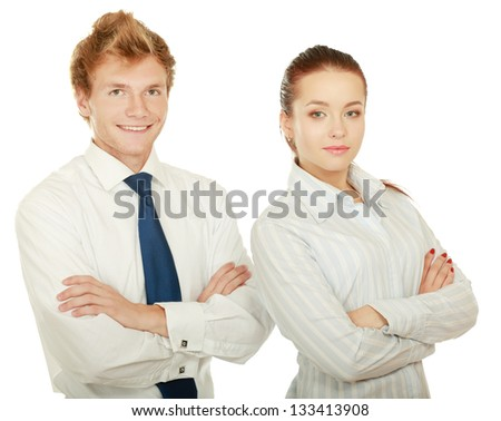 Portrait of business people, isolated on white background - stock photo
