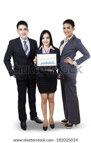 Portrait of business people showing growth graph on laptop. isolated on white - stock photo