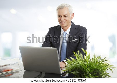 Portrait of business people sitting at office. Senior businessman sitting at desk in front of laptop an typing presentation.  - stock photo