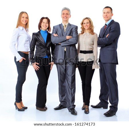 Portrait of business people standing on a white background
