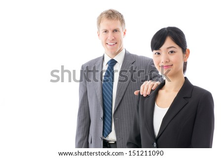 portrait of business team on white background