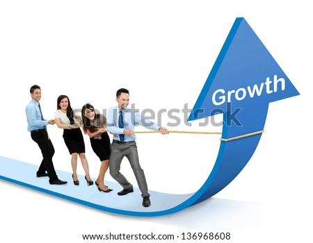 portrait of business team pulling up bar using rope. growth chart concept - stock photo