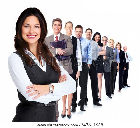 Portrait of business woman and group of workers people. - stock photo