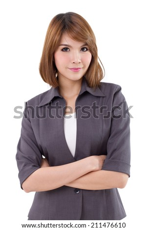 portrait of business woman, confident and crossing her arms on white isolated background - stock photo