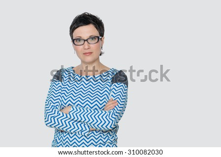 Portrait of business woman or creative professional with eyeglasses. Isolated, with copy space. - stock photo
