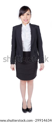 portrait of business woman, smiling, happy, confident on white isolated background - stock photo