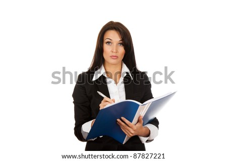 Portrait of business woman with blue folder serious looking at camera, isolated on white background