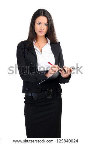 portrait of business woman with documents on white - stock photo