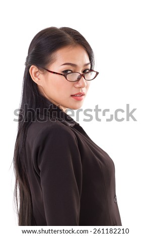portrait of business woman with eyeglasses
