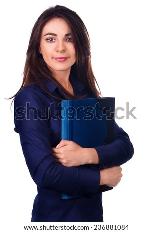 Portrait of business woman with  folder, isolated on white background - stock photo