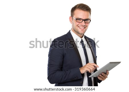 portrait of Businessman holding a tablet pc, look at the camera smiling. ready for your design - stock photo
