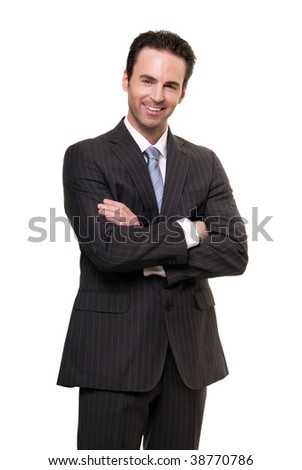 Portrait of businessman isolated on white background.