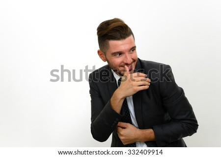 Portrait of businessman laughing - stock photo