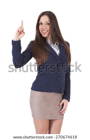 portrait of businessman pointing - stock photo