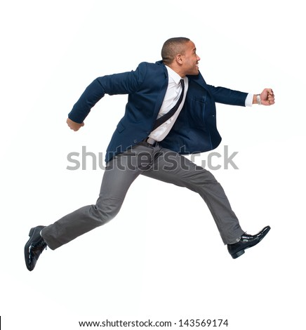 Portrait Of Businessman Running Isolated On White Background - stock photo
