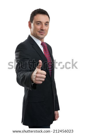 portrait of businessman thumbing up isolated on white