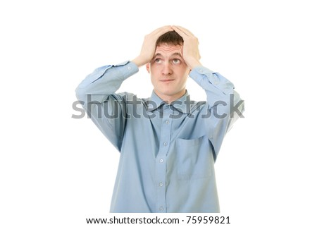 Portrait of Businessman  very regrets on white background - stock photo