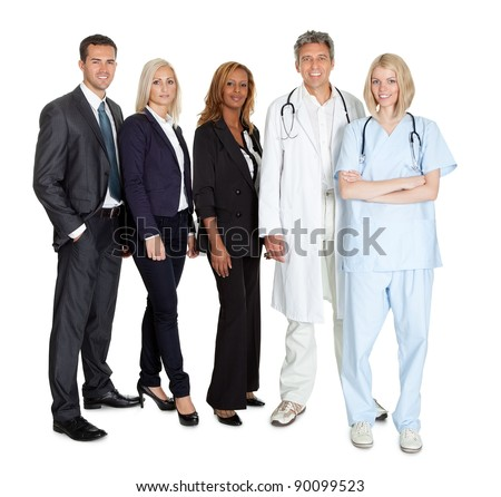 Portrait of businesspeople and medical workers standing on white background - stock photo