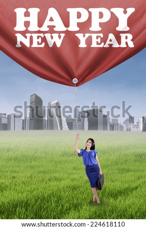 Portrait of businessperson pulling a text of happy new year on the meadow - stock photo