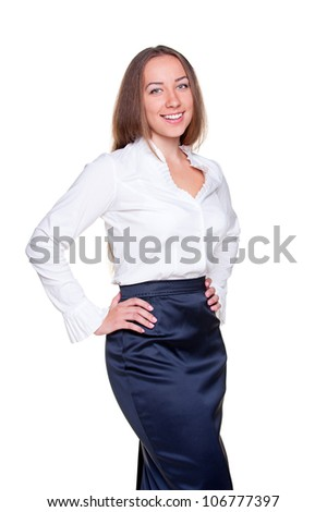 portrait of businesswoman in formal clothes. isolated on white background