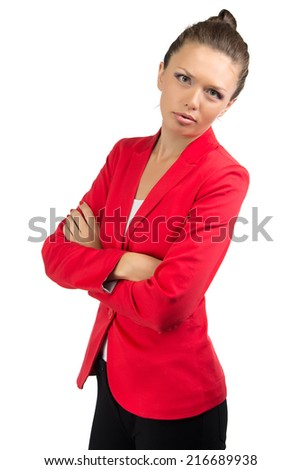 Portrait of businesswoman in red jacket with arms crossed