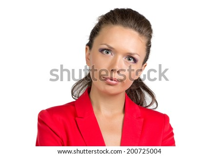 Portrait of businesswoman in suit - isolated photo