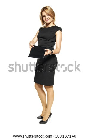 Portrait of businesswoman isolated on white background.Attractive businesswoman showing digital tablet. - stock photo