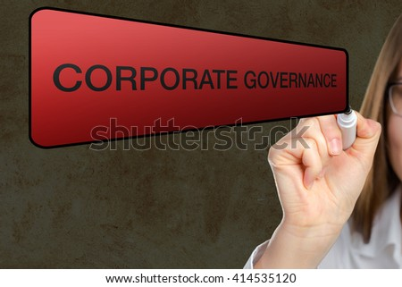 portrait of businesswoman pointing Corporate governance
