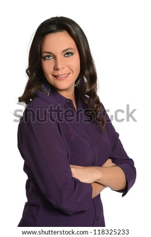 Portrait of businesswoman with arms crossed isolated over white background