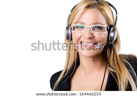 Portrait of Call center blonde woman with headset - stock photo