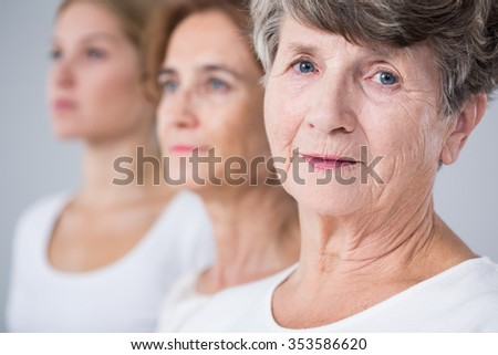Portrait of calm and beautiful elderly woman  - stock photo