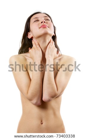 Portrait of calm female with her hands on neck taking pleasure