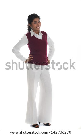 portrait of casual Indian woman smiling full body isolated on white - stock photo
