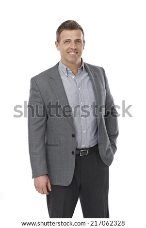 Portrait of casual young businessman in shirt and jacket. - stock photo