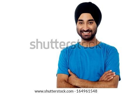 Portrait of casual young guy, studio shot - stock photo