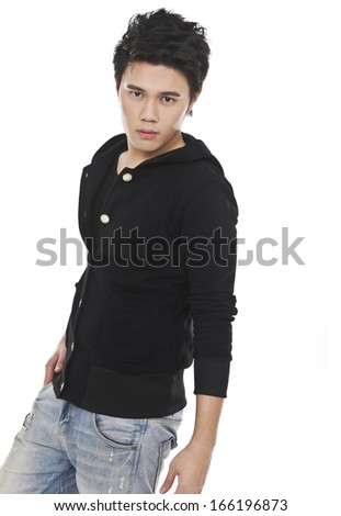 Portrait of casual young man in jeans