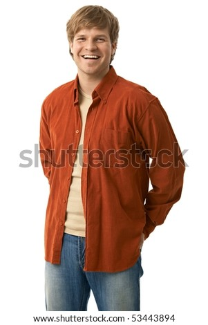 Portrait of casual young man in jeans and orange shirt smiling, isolated on white. - stock photo