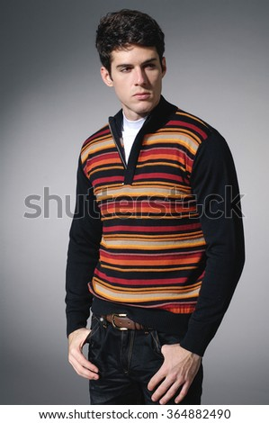 Portrait of casual young man in sweater  - stock photo