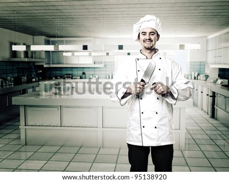 portrait of caucasian chef with knives - stock photo