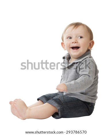 portrait of caucasian child isolated on white background - stock photo