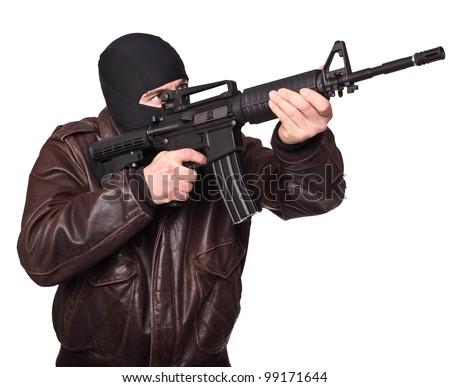 portrait of caucasian criminal  on white - stock photo