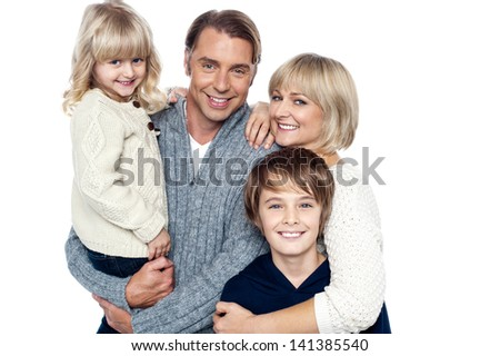 Portrait of caucasian family of four - stock photo