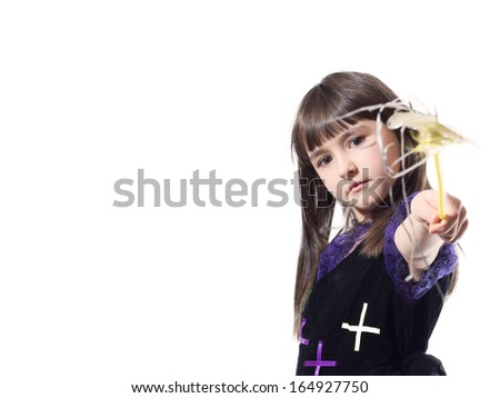 Portrait of caucasian girl in magician costume isolated - stock photo