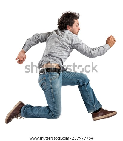 portrait of caucasian jumping man isolated on white - stock photo