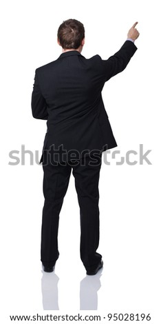 portrait of caucasian man pointing on white background
