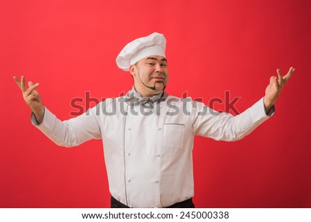 Portrait of caucasian man with chef uniform expressing positivity - stock photo