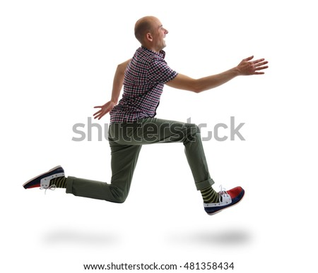 portrait of caucasian running man isolated on white