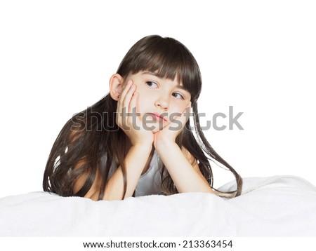 Portrait of caucasian  sad girl child kid isolated on white background - stock photo