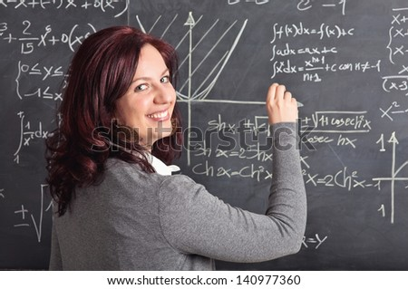 portrait of caucasian teacher and blackboard